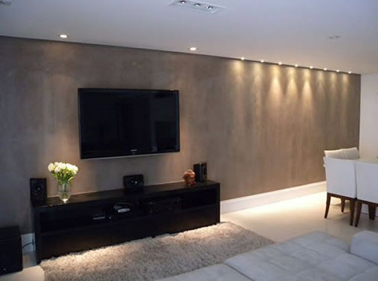 Cement Shelves Design In Hall Room