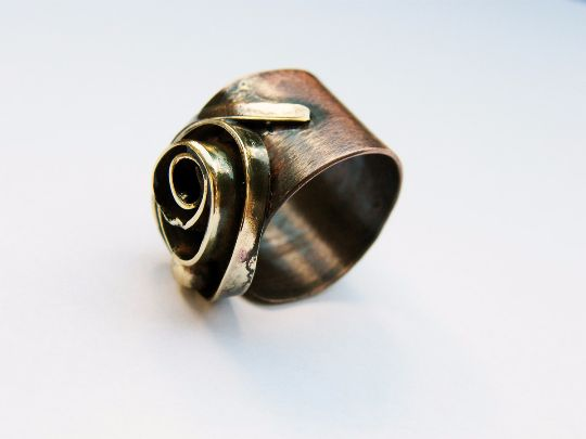 Rings – Rose Bud. oxidized copper ring, mixed metal ring – a unique product by NAAKIT on DaWanda