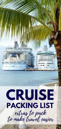 Cruise tips for what to pack for a cruise that you may not have thought of! Travel accessories to consider adding to your cruise packing checklist! Things to think about with your time on board the cruise ship, embarkation day, sea day, shore excursions, other beach or cruise activities in port, cruise outfits, or first-time cruise! Picture backdrop: Royal Caribbean cruise ships Oasis of the Seas and Navigator of the Seas docked in Caribbean cruise port Cozumel, Mexico.