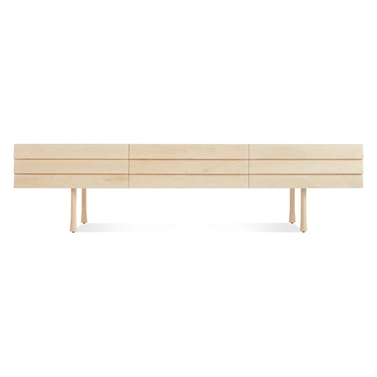 Modern Maple Lap Long  and Low Dresser with Maple Legs