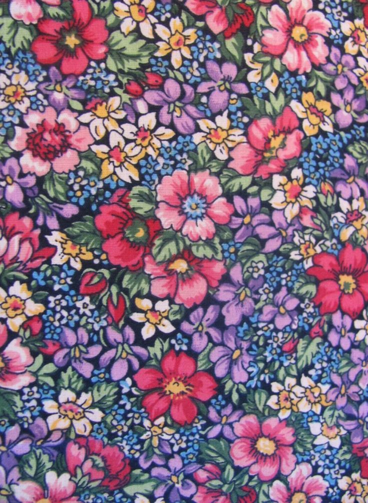 Dense and saturated floral print cotton quilting fabric by
