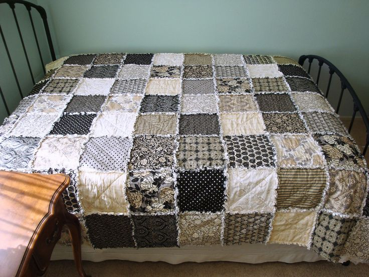 Queen Size Rag Quilt Neutral Tones Black Cream Tan And