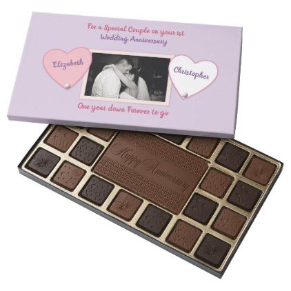 #Lilac and Pink Wedding Anniversary special couple 45 Piece Box Of Chocolates - #wedding gifts #marriage love couples