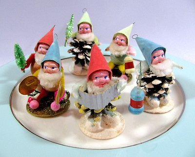 Pinecone Elf or Dwarf Figures Vtg 1950's Christmas Ornaments w Box | eBay