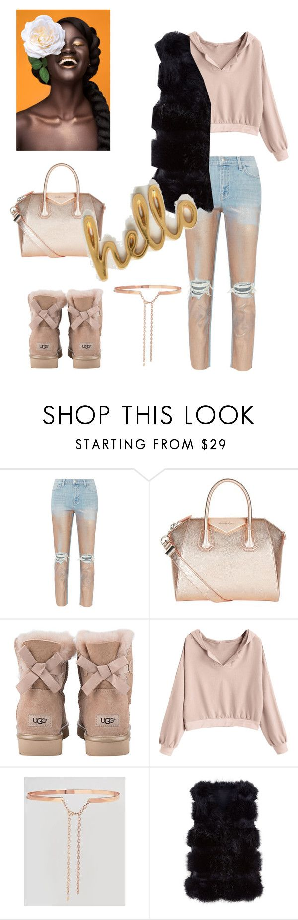 """Goodie Hoodie"" by desireervin ❤ liked on Polyvore featuring L'Agence, Givenchy, UGG, Johnny Loves Rosie and Bombay Duck"