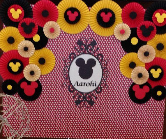 Paper Rosettes Mickey Mouse Birthday Decor by LavishInspirations