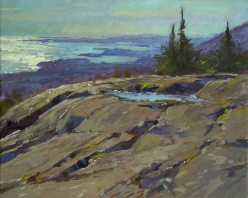 Colin Page, Maine Artist, Puddle On Bald Rock 16x20. Bald Rock Summit. Lincolnville Maine.