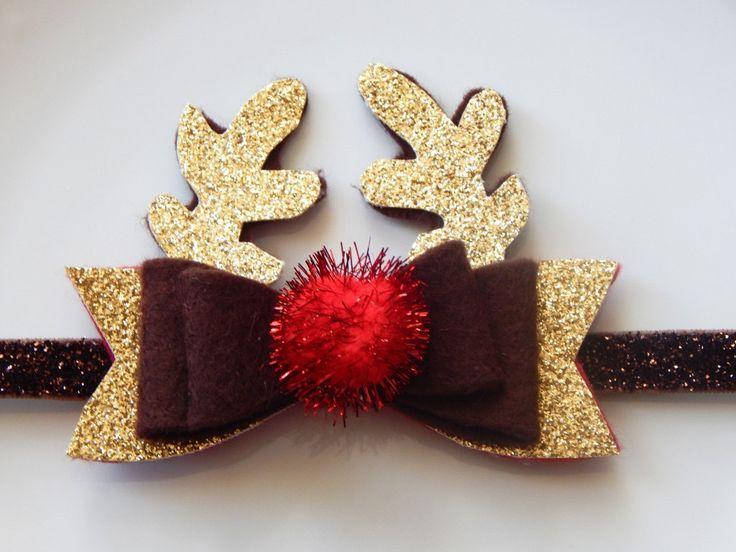 Rudolph bow, Rudolph headband, Rudolph clip, Reindeer bow, Reindeer headband, Reindeer clip, Christmas clip, Christmas bow by YourBabyOwlBe on Etsy