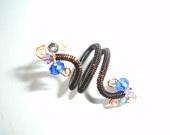 Expandable Blue Purple Swarovski Crystal Ring. Non Tarnish Black Copper Coiled Wire Wrap