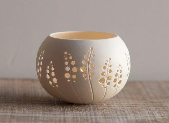 porcelana Portavelas diseño N.8. Hecho a la medida. Sostenedor de vela de la boda. De porcelana té luz delicia colección Studio Wapa.