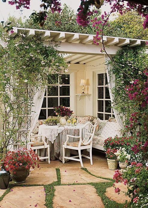 Pretty patio: Cottages Style, Outdoor Rooms, Outdoor Living, Pergolas, Gardens Patio, Outdoorspaces, Back Porches, Outdoor Spaces, Teas Parties
