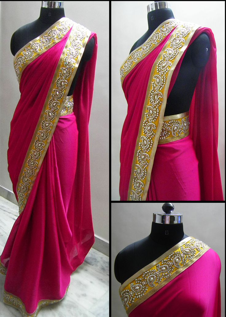 Pink shimmer georgette fabric embellished with Yellow kundan work border finished from both sides by Gold and Antique gold lace. The pallu has beautiful diamond work latkans on both ends. Blouse - Yellow raw silk (0.8mtr)  For booking your saree please Email us with Saree name to sales@aaenadesign.com or call us on +91 9167625956