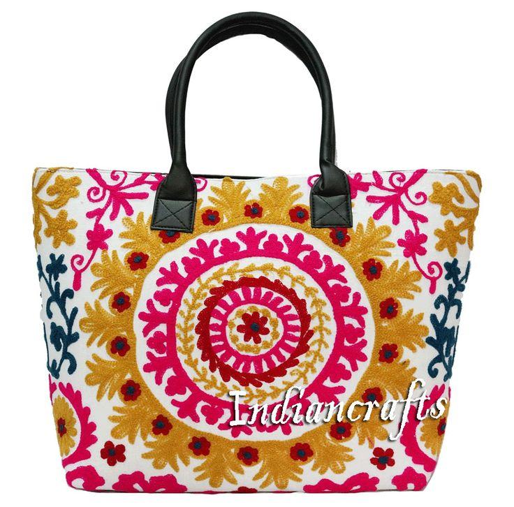 Ethnic Cotton Embroidery Shoulder Bag Boho Indian Woman Suzani Tote Handmade Bag