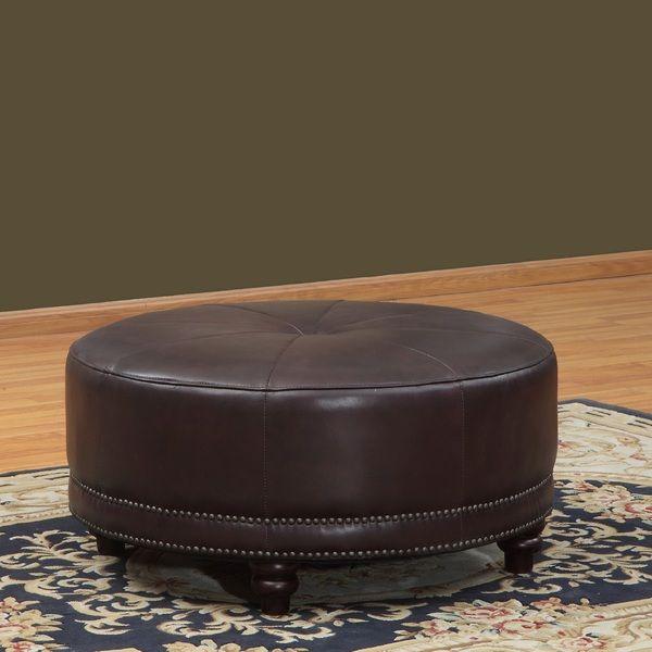 Lazzaro Leather Cindy Round Leather Ottoman