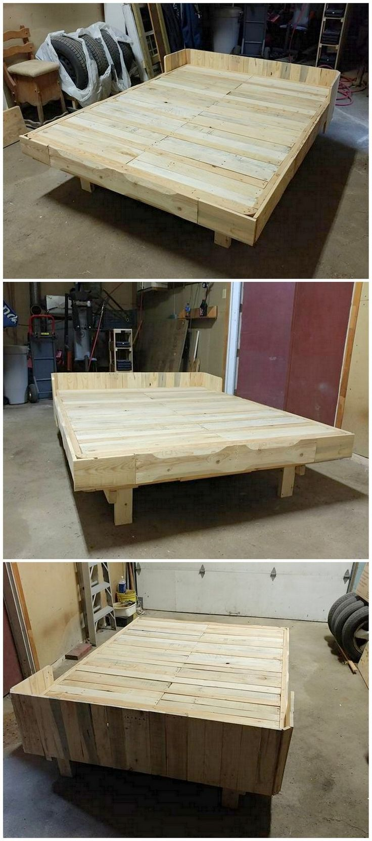 This looks a real centerpiece of your living room in the form of bed frame designed by using wood pallet material. Recycling of the wood pallet has been awesomely done in the whole bed frame. Small planks are also part of this bed frame as located in the top down of the bed frame as the support system.