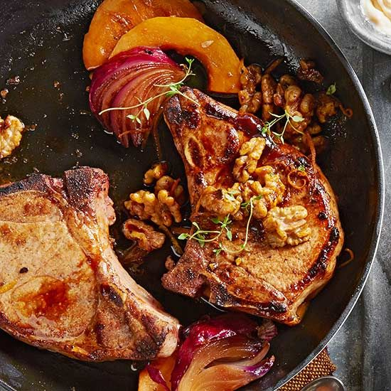 Chop to it and try a new way to make pork chops for dinner tonight. From pan-fried to pork chops stuffed with bleu cheese, no matter how you make them, these 25 pork chop recipes are easy to make and sure to please! #porkchops #whatsfordinner #meals #dinner