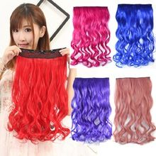 Fashion Gradient Color Hair Extensions Colorful Hair Pink Blue Purple Red Hair Extentions Cosplay Hair Pieces