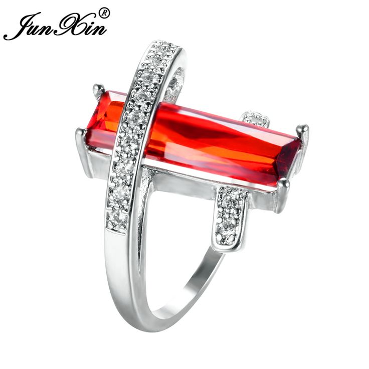 JUNXIN Charm Male Female Red Ring 925 Sterling Silver Filled Vintage Wedding Rings For Men Women Fashion Party Jewelry