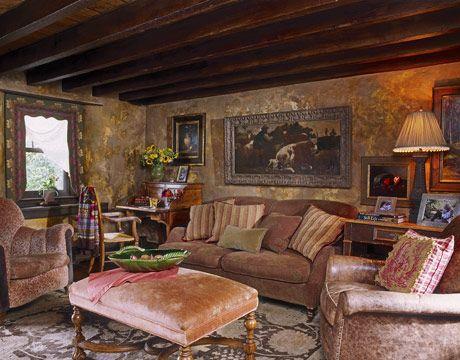 Wood Beamed Ceilings Are Striking In This Rustic Livingroom Part 90