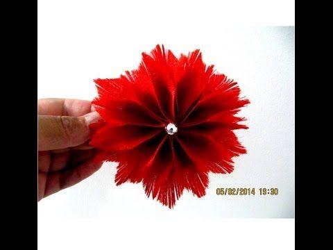 ▶ Flores rojas acacias plumosas en cintas deshilachadas para el cabello - YouTube