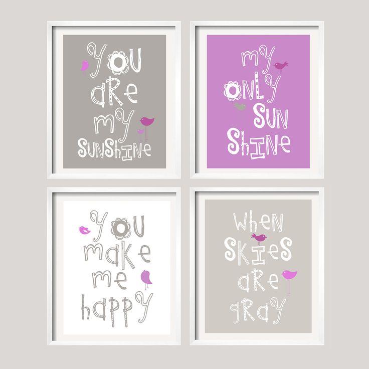 SALE Purple and Grey Nursery Wall Art, Playroom Art - You Are My Sunshine 8x10 nursery decor, baby shower gift, boy or girl colors.