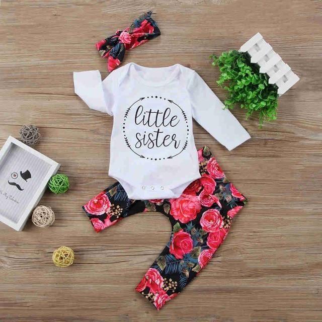 7221d370 2018 Autumn 3pcs Newborn Infants Baby Girls Clothing Set Wear in ...