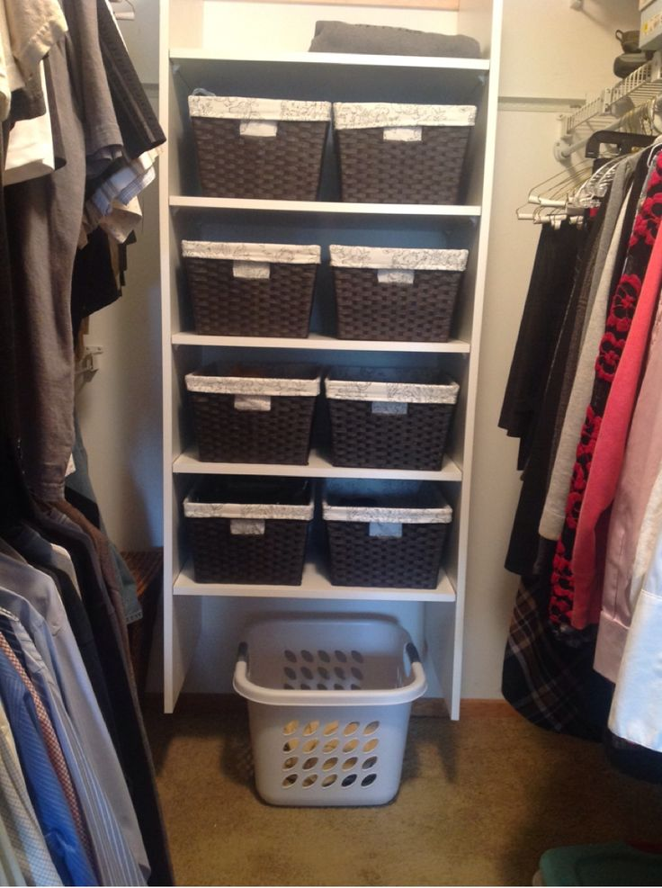 small walk in closet organization - do it yourself for less than $200 with baskets