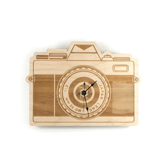 Reloj madera grande cámara reloj arce madera regalos para fotógrafos fotografía amante cámara obturador pared reloj Home decoración para el hogar decoración