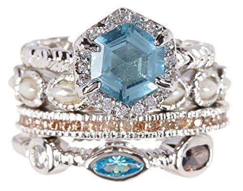 Sky Blue Quartz & Shavonne Wholesale Gemstone Jewelry Stackable Ring Set  Sky Blue Quartz & Shavonne Wholesale Gemstone Jewelry Stackable Ring Set