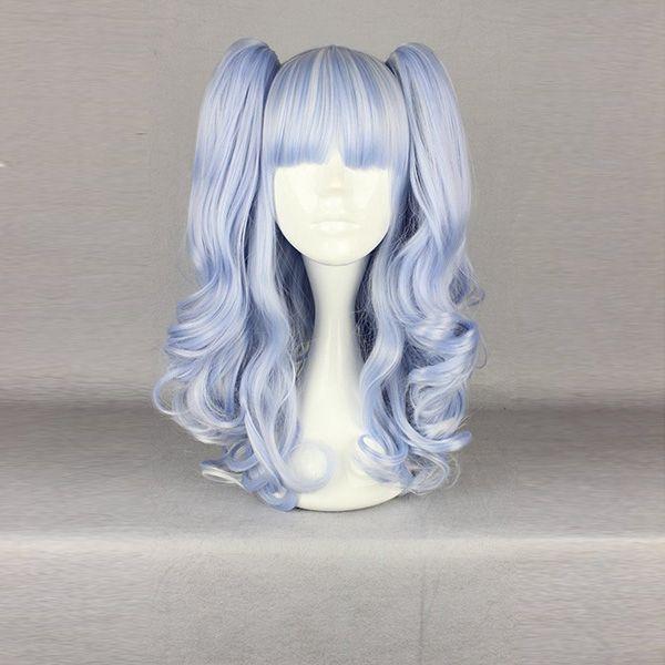 La alta temperatura de manojos del toque de luz azul clara calienta el traje del pelo sintético amistoso cosplay peluca
