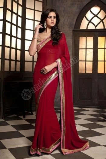 Maroon Georgette Saree  Design No. DMV7480 Price:-  £45.00  Dress Type: 	Saree Fabric: 	Georgette Colour:    ​          	Maroon Embellishments:  	Embroidered, Resham, Zari For More Details:- http://www.andaazfashion.co.uk/maroon-georgette-saree-with-white-art-silk-blouse-dmv7480.html
