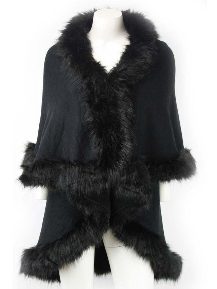 Nina Black Fur Knit Cardigan