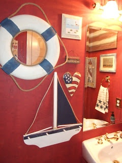 red white and blue / nautical / Americana ... blog on decorating bathroom