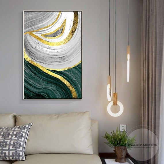Modern Abstract Gold Dark Green Print Painting Digital Prints On Canvas Luxury Wall Art Picture Ready To Hang Framed Wall Art Large Wall Art Wall Art Pictures