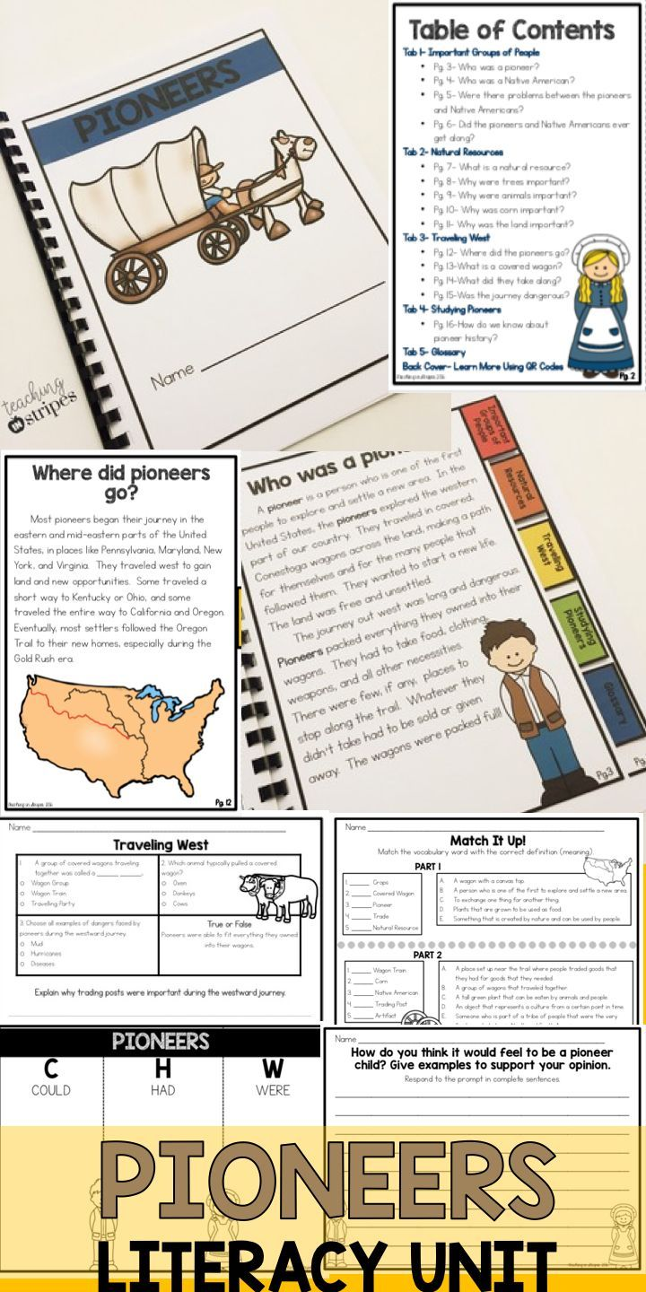 Integrate Reading Comprehension And Writing Into Your Social Studies Unit On Pioneers And Westward Exp Literacy Unit Literacy Elementary Social Studies Lessons