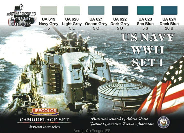 Set colores camuflaje LifeColor CS24 US NAVY WIISET1