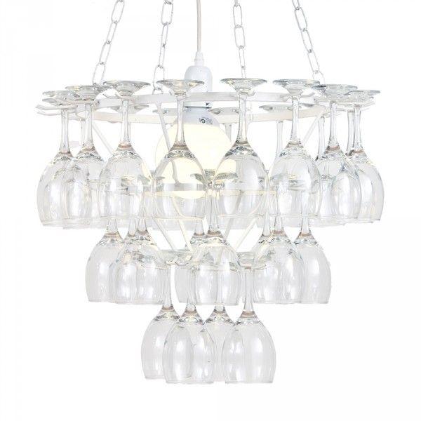 3 Tier Dining Room Wine Glass Chandelier White 1 Light