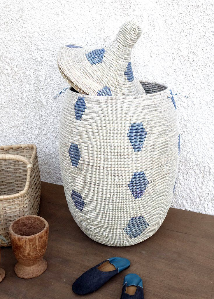 Extra Large Laundry Hamper In White With Pattern Simple But Cute