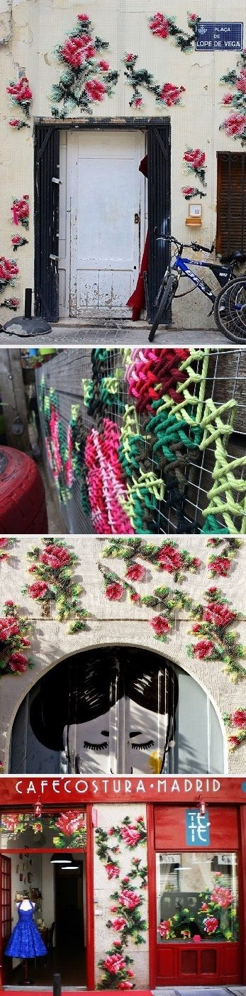 Imagine leaving your home in the morning and discovering that your entire wall is covered in floral cross stitching. That would soooo make my day!