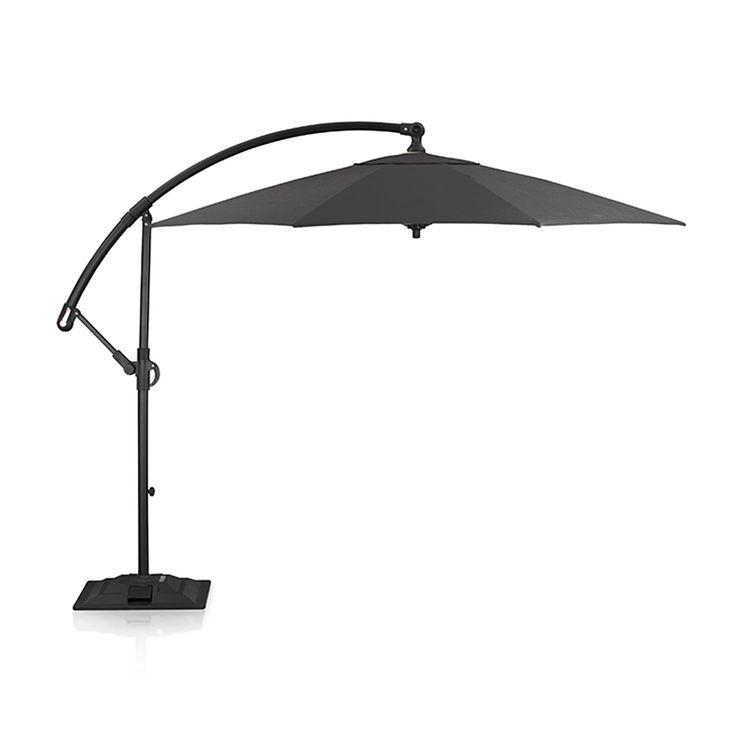 10u0027 Round Sunbrella ® Charcoal Cantilever Patio Umbrella With Base | Crate  And Barrel