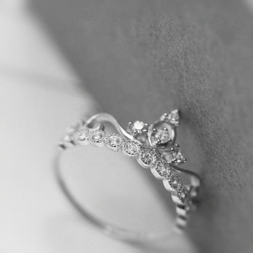 popular silver crown fashion promise ring for her