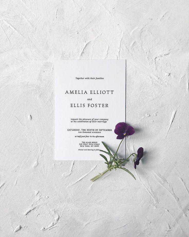 Minimalist bespoke wedding invitation // flower, simple, unique, modern