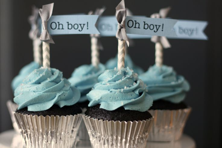 Baby boy shower cupcakes, blue & gray chevron - Frosted Bake Shop.