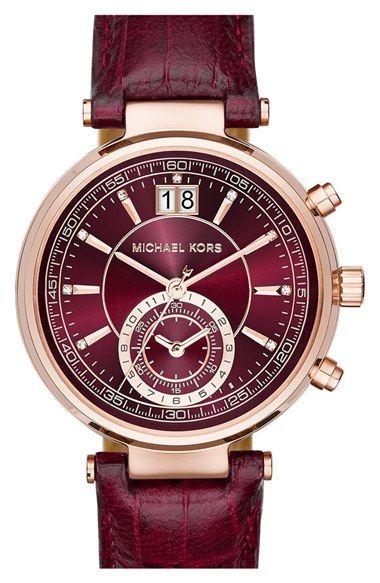 Michael Kors 'Sawyer' Leather Strap Watch.......
