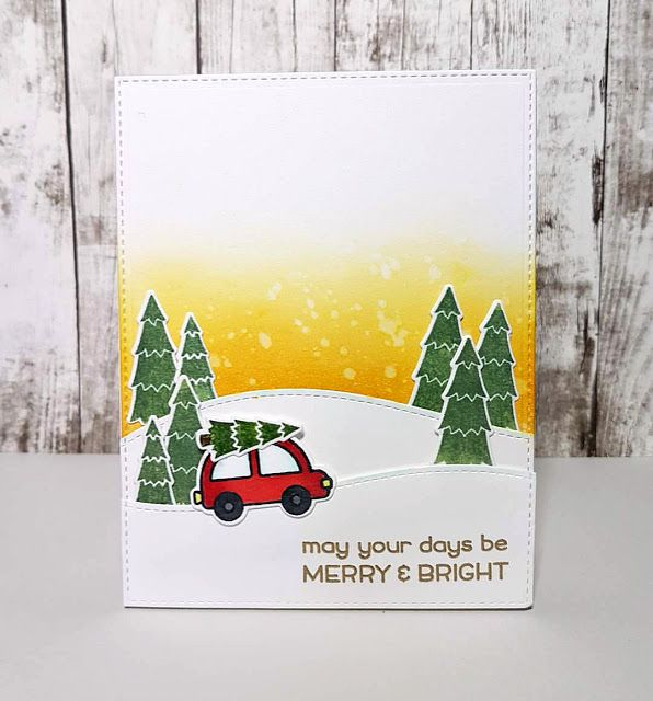 Card christmas winter car tree trees fetching the tree snowdrift hills landscape sunset Lawn Fawn Home for the Holidays Seasons greetings Merry Christmas