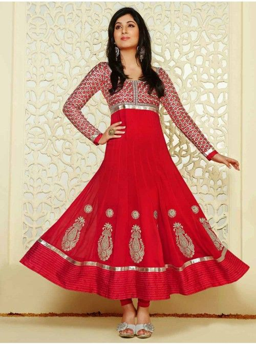 Buy Pink Georgette Anarkali Suit With Resham Work Designer Fiona Collection Online In India - saree.com