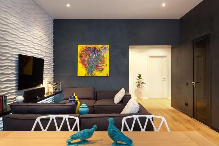 Краска для стен в квартире (60 фото): как выбрать правильно? http://happymodern.ru/kraska-dlya-sten-v-kvartire-kak-vybrat-pravilno/ Краска для стен в квартире. Капризный, но потрясающе декоративный цвет стен - черный. Вопреки расхожему мнению, он не делает помещение депрессивным, а может смотреться очень свежо
