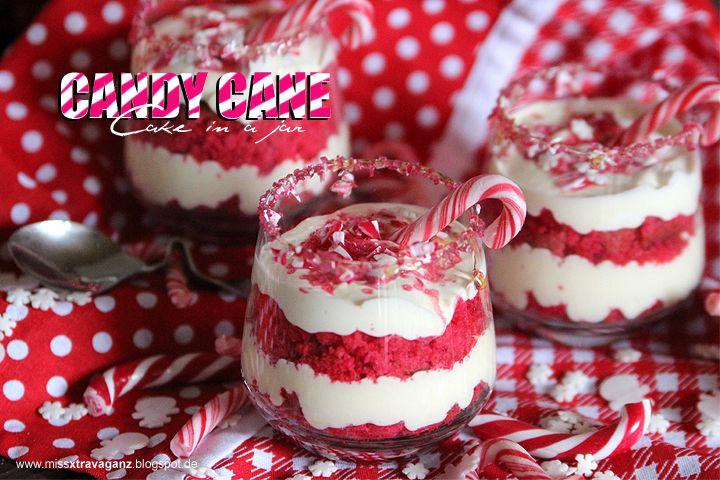 ! Miss von Xtravaganz ! Candy Cane Cakes in a jar Easy Christmas Dessert DIY