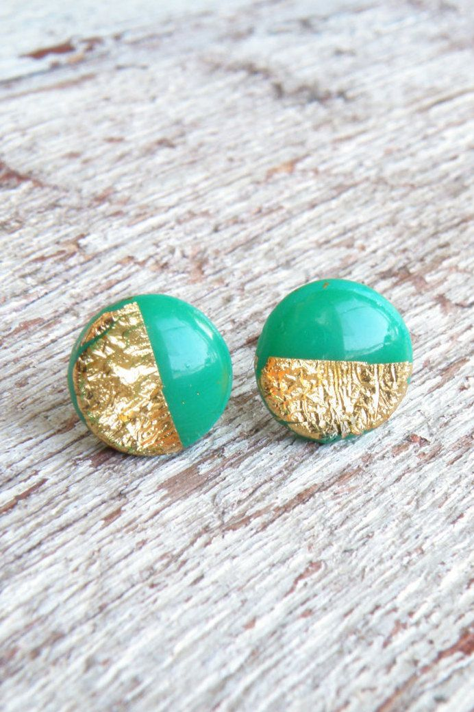 Leprechaun jewelry Real gold leaf earrings Emerald green gold studs Gold foil Post earrings Polymer clay studs Real gold 24K St Patric's day by Eternity31 on Etsy https://www.etsy.com/listing/214771944/leprechaun-jewelry-real-gold-leaf