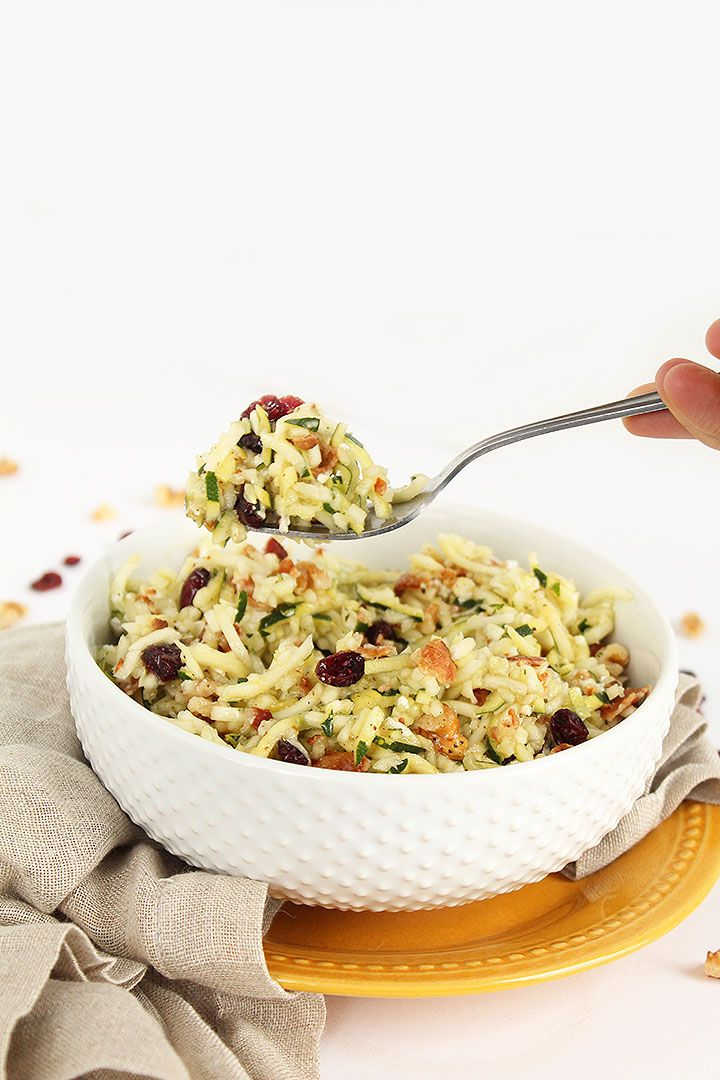 Zucchini rice with cranberries, bacon, walnuts and maple-dijon dressing (recipe has goat cheese, easily left out).